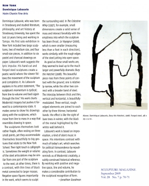 Sculpture Magazine September 2009